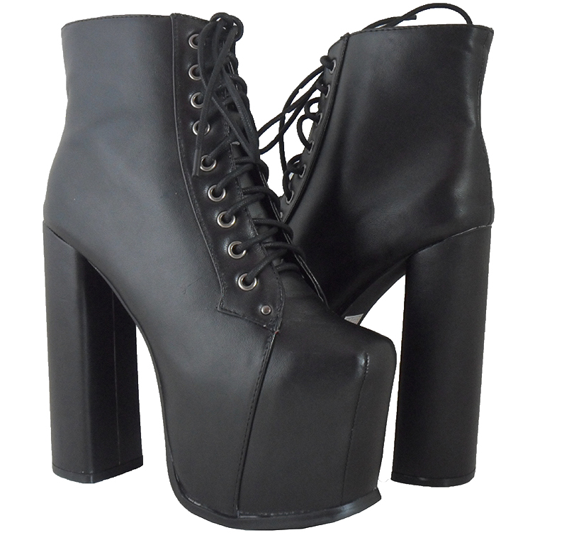 WOMENS LADIES BLACK LACE UP ANKLE PLATFORM BLOCK HIGH HEEL SHOES ...